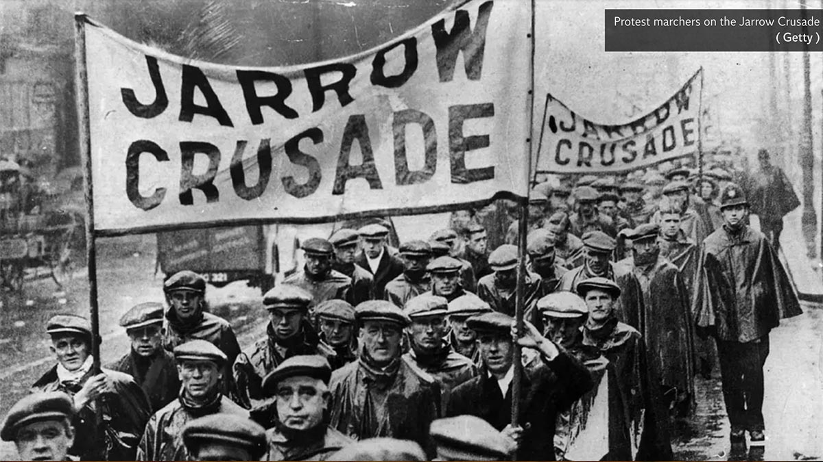 The Jarrow march against unemployment in 1936