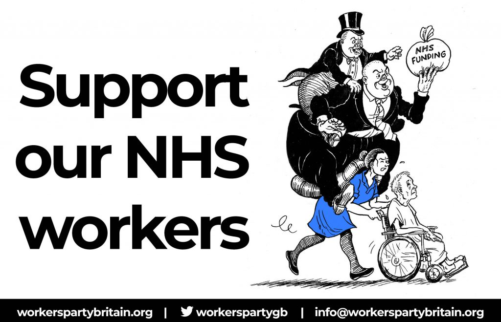 Support our NHS Workers against paycuts and privatisation cartoon
